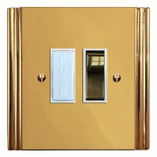 Plaza Switched Fused Spur Polished Brass Lacquered & White Trim