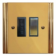 Plaza Switched Fused Spur Polished Brass Unlacquered