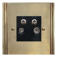 Plaza Quadplex TV Socket Antique Satin Brass