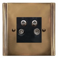 Plaza Quadplex TV Socket Hand Aged Brass