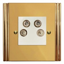 Plaza Quadplex TV Socket Polished Brass Lacquered & White Trim