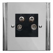 Plaza Quadplex TV Socket Polished Chrome & Black Trim
