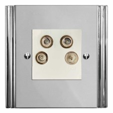 Plaza Quadplex TV Socket Polished Chrome & White Trim