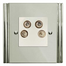Plaza Quadplex TV Socket Polished Nickel