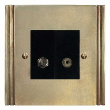 Plaza Satellite & TV Socket Outlet Antique Satin Brass