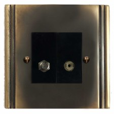 Plaza Satellite & TV Socket Outlet Dark Antique Relief