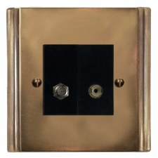 Plaza Satellite & TV Socket Outlet Hand Aged Brass