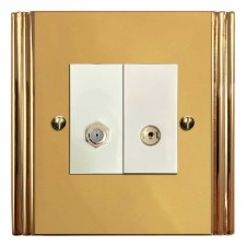 Plaza Satellite & TV Socket Outlet Polished Brass Lacquered & White Trim