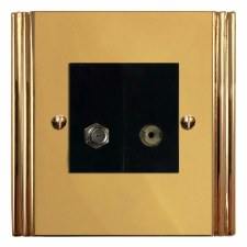 Plaza Satellite & TV Socket Outlet Polished Brass Unlacquered