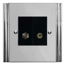 Plaza Satellite & TV Socket Outlet Polished Chrome & Black Trim