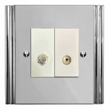 Plaza Satellite & TV Socket Outlet Polished Chrome & White Trim