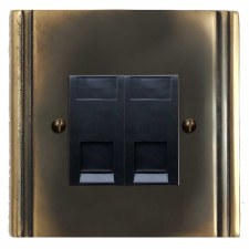 Plaza Telephone Socket Secondary 2 Gang Dark Antique Relief