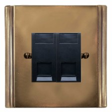 Plaza Telephone Socket Secondary 2 Gang Hand Aged Brass