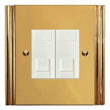 Plaza Telephone Socket Secondary 2 Gang Polished Brass Lacquered & White Trim