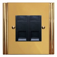 Plaza Telephone Socket Secondary 2 Gang Polished Brass Unlacquered