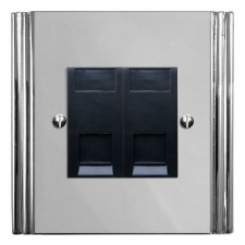 Plaza Telephone Socket Secondary 2 Gang Polished Chrome & Black Trim