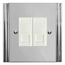 Plaza Telephone Socket Secondary 2 Gang Polished Chrome & White Trim