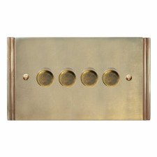 Plaza Dimmer Switch 4 Gang Antique Satin Brass