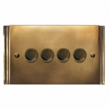 Plaza Dimmer Switch 4 Gang Hand Aged Brass
