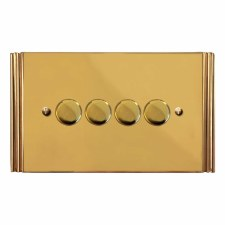 Plaza Dimmer Switch 4 Gang Polished Brass Unlacquered