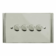 Plaza Dimmer Switch 4 Gang Polished Nickel