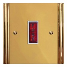Plaza Fused Spur Connection Unit Illuminated Indicator Polished Brass Lacquered & White Trim