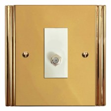 Plaza Satellite Socket Polished Brass Lacquered & White Trim