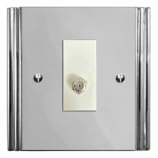 Plaza Satellite Socket Polished Chrome & White Trim