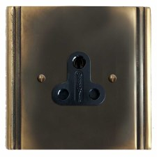 Plaza Lighting Socket Round Pin 5A Dark Antique Relief