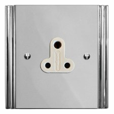 Plaza Lighting Socket Round Pin 5A Polished Chrome & White Trim