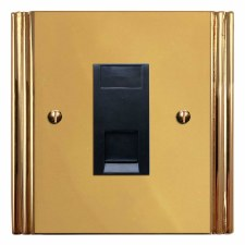 Plaza RJ45 Socket CAT 5 Polished Brass Unlacquered