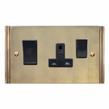 Plaza Socket & Cooker Switch Antique Satin Brass