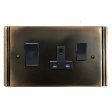 Plaza Socket & Cooker Switch Dark Antique Relief