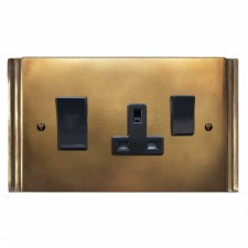 Plaza Socket & Cooker Switch Hand Aged Brass