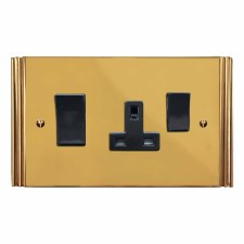Plaza Socket & Cooker Switch Polished Brass Unlacquered
