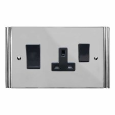 Plaza Socket & Cooker Switch Polished Chrome & Black Trim