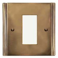 Plaza Plate for Modular Electrical Components 50x25mm Hand Aged Brass