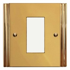 Plaza Plate for Modular Electrical Components 50x25mm Polished Brass Unlacquered