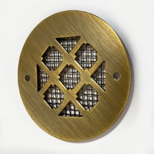 "Plain Circular 3"" Air Vent Antique Brass Unlacquered"
