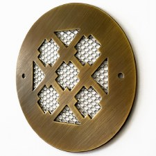 "Plain Circular 4"" Air Vent Antique Brass Unlacquered"