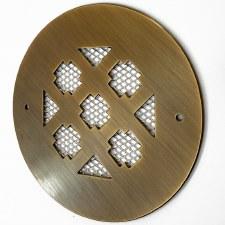 "Plain Circular 5"" Air Vent Antique Brass Unlacquered"