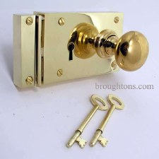 "6"" Plain Rim Lock, Right Hand, Polished Brass Unlacquered"