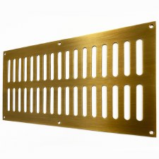 "Plain Slotted Air Vent 12"" x 6"" Antique Brass Unlacquered"