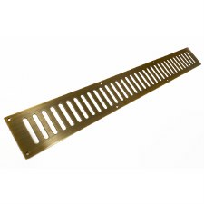 "Plain Slotted Air Vent 24"" x 3"" Antique Brass Unlacquered"