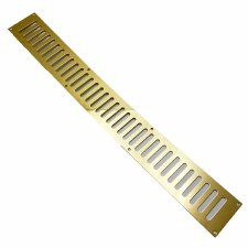 "Plain Slotted Air Vent 24"" x 3"" Polished Brass Unlacquered"