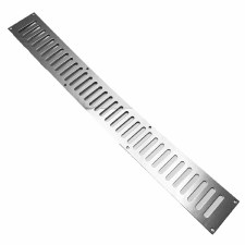 "Plain Slotted Air Vent 24"" x 3"" Polished Chrome"