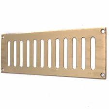 "Plain Slotted Air Vent 9"" x 3"" Polished Brass Unlacquered"
