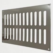 "Plain Slotted Air Vent 9"" x 6"" Polished Stainless Steel"