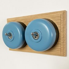 Round Dolly Light Switch 2 Gang Blue on Oak Pattress with Black Mounts