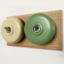 Round Dolly Light Switch 2 Gang Mix and Match on Oak Pattress with Black Mounts